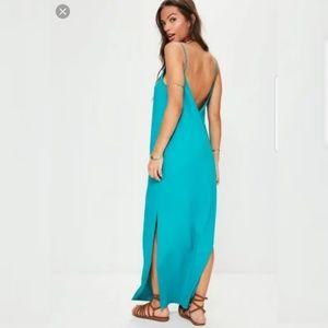 Missguided Low Back Cami Maxi Dress Blue Sz 6 NWT